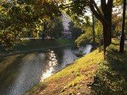 Die Oder in Breslau bei Sonnenschein